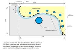 Схема двухуровневого матового натяжного потолка.