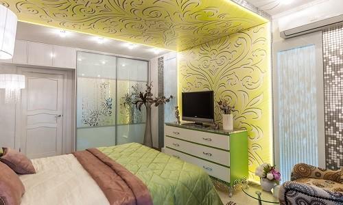 Дизайн комнаты с потолком переходящим в стены
